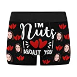 Custom Face Boxer Briefs Personalized I'm Nuts About You Underwear Shorts for Men Funny Gifts