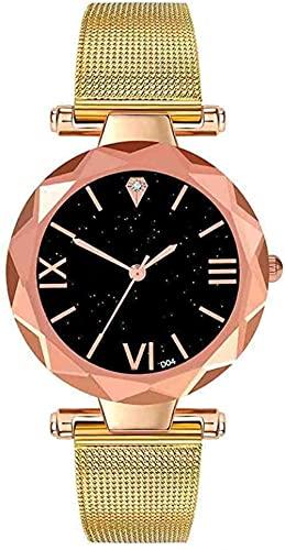 JZDH Mano Reloj Reloj de Pulsera Mujer Pulsera Reloj contratado Relojes de Pulsera de Cuero Mujer Vestido de Mujer Reloj de Cuarzo señoras Relojes Decorativos Casuales (Color : Gold)