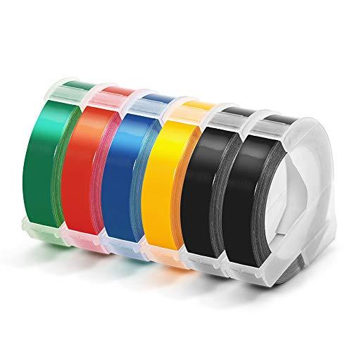 Airmall kompatible Prägeband als Ersatz für Dymo 3D Kunststoff Prägebändern 9 mm x 3 m Vinyl-Prägeetiketten für Dymo Omega Junior Etikettenprägegerät, Schwarz/Blau/Rot/Gelb/Grün, 6 Rollen