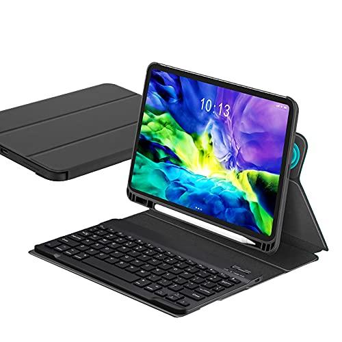 ktong Funda para Teclado para iPad Pro 2020/2018 11'Funda Universal Desmontable para Teclado inalámbrico con portalápices, Funda Protectora Delgada para Tableta,Negro