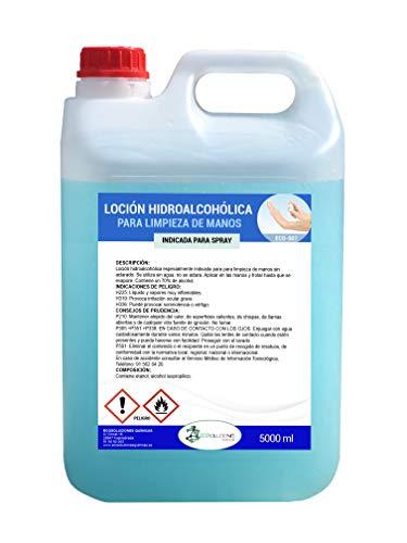 Ecosoluciones Químicas ECO- 901 | 5 litros | Loción Hidroalcohólica para manos 70% ALCOHOL | Formato ahorro