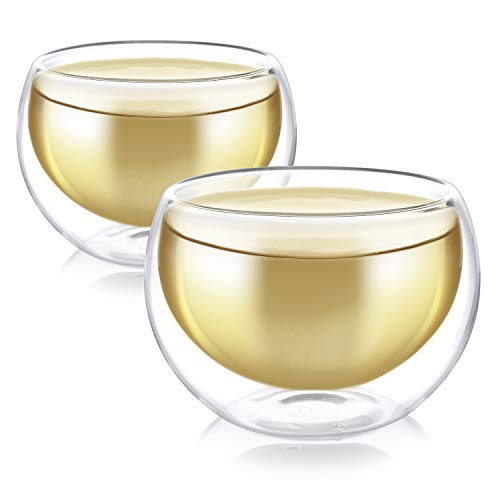 Teabloom Doppelwandige Tassen (5oz / 150ml) – Set aus 2 isolierten Glasbechern für Tee, Kaffee, Espresso und mehr…