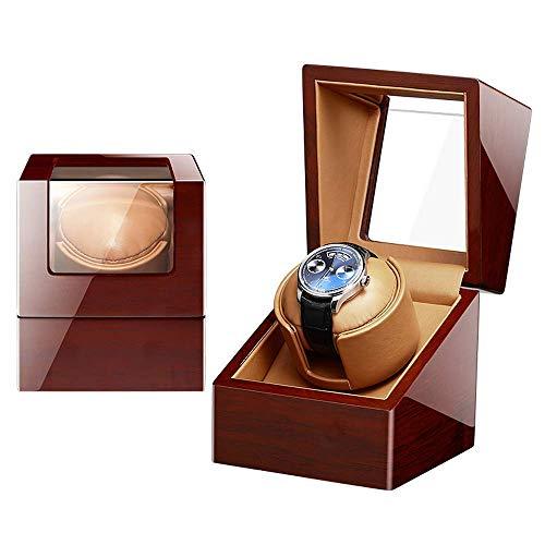 ZCYXQR Enrolladores de Reloj, automático de un Solo Reloj WindeWith Caja de presentación silenciosa Lether Pillow/Piano Paintc Acrylic Glass100% Handmade, B