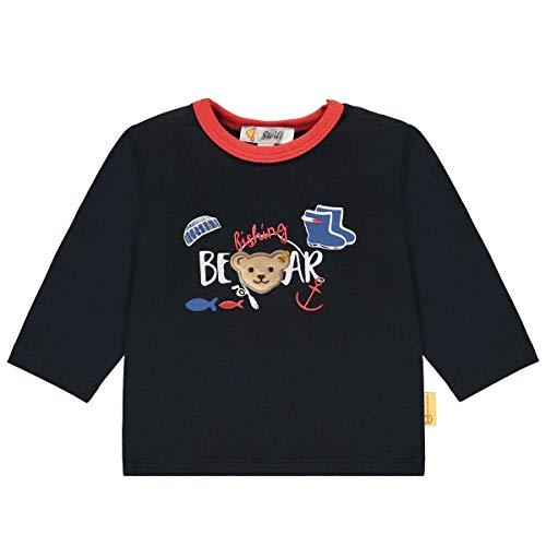 Steiff T-Shirt Langarm Camiseta, Azul Marino, 74 cm para Bebés