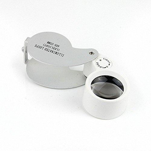 SODIAL(TM 40 X 25 mm Orgnette oculaire Loupe Optique de bijoutier avec LED