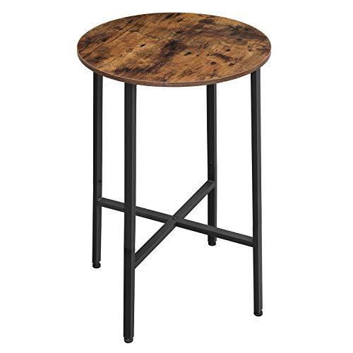 VASAGLE Stehtisch, Bartisch, Schreibtisch, runder Küchentisch, Ø 60 x 90 cm, Wohnzimmer, Küche, einfacher Aufbau, stabil, Stahlgestell, Industrie-Design, vintagebraun-schwarz LBT60X