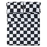 Queen Size Sheet Set 4 Piece -Microfiber Soft Durable Bedding Sheet Set,Deep Pocket,Stain,Fade & Wrinkle Resistant (Plaid Black&White)