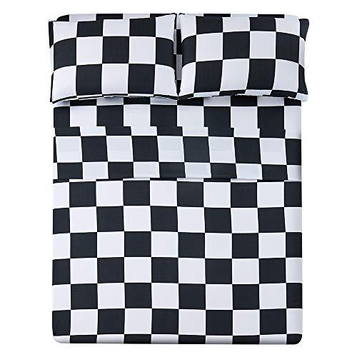 Bed Sheet Set 4 Piece -Full Size-Soft Durable Microfiber Bedding Sheet Set,Deep Pocket,Stain,Fade & Wrinkle Resistant (Plaid Black&White)