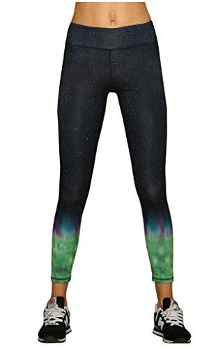Lotus Instyle Cosmic Galaxy Flammen-Druck-Gamaschen-Strumpfhosen Workout Yoga Hosen Blackgreen-M