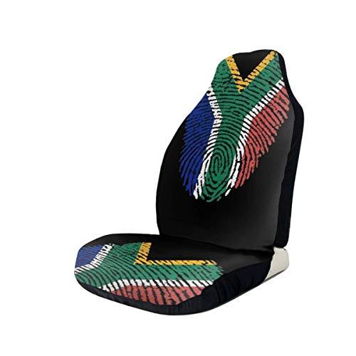 YAGEAD Fundas de asiento de coche Bandera de Sudáfrica Juego completo elástico de huellas dactilares Protectores de asiento de coche Universal Fit Most Car/Truck/Suv