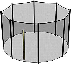 Universal fit, suitable for 12ft circular trampoline ; Diameter of the sleeve:60mm. Safe: entrance to the enclosure is via zip system with added buckles for maximum safety. Material:PE (polyethylene), 95g/m2 ; 4mmx4mm UV resistant to protect it from ...
