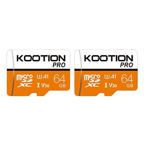 KOOTION Scheda Micro SD 64GB Scheda di Memoria U3 A1 4K UHS-I MicroSDXC 64G Scheda SD 64 Giga Memory Card TF Carta SD Alta Velocità Fino a 100MB/s,Micro SD Card 2 Pack per Telefono Videocamera Gopro