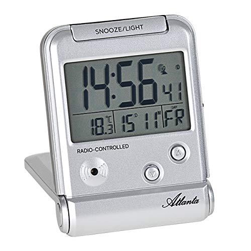 Atlanta Funkwecker Digital LCD-Anzeige Reisewecker mit Klappe Temperatur Silber - 1806/19