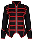 Ro Rox Womens Military Parade Emo Punk Drummer Jacket - Black & Red (2XL) from