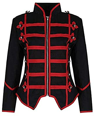 Ro Rox Womens Military Parade Emo Punk Drummer Jacket - Black & Red (M) from