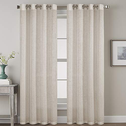 Living Room Linen Curtains Home Decorative Nickel Grommet Curtains Privacy Added Energy Saving Light Filtering Window Treatments Draperies for Bedroom, Angora, 2 Panels, 52 x 84 - Inch