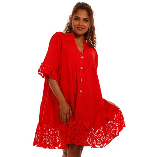 YC Fashion & Style Damen Oversize Minikleid weites Tunikakleid mit Spitze aus 100% Leinen Plus Size Freizeit Party Strand Kleid FÜR Frauen MIT Kurven Made in Italy One Size (One Size, Rot)