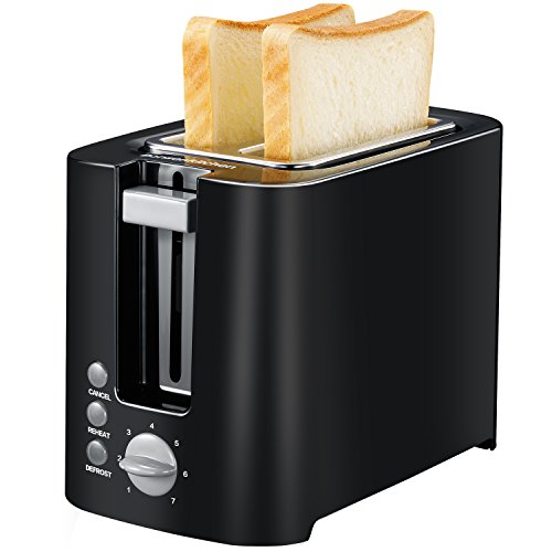 Bonsenkitchen Compact Toaster 2 Slice with Reheat/Cancel/Defrost Functions, 800 Watt 7 Toasting Setting Small Toasters