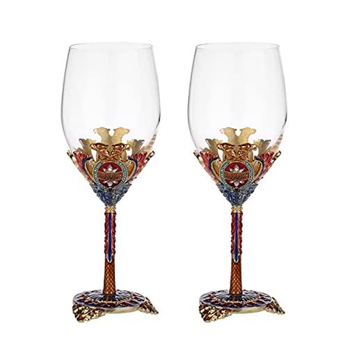 PQQ Copas de Vino Vasos Copas de Agua de Cristal de Esmalte soplado a Mano Copa de Vino Copa 100% sin Plomo Ideal para cata de vinos Aniversario de Bodas Juego de 2