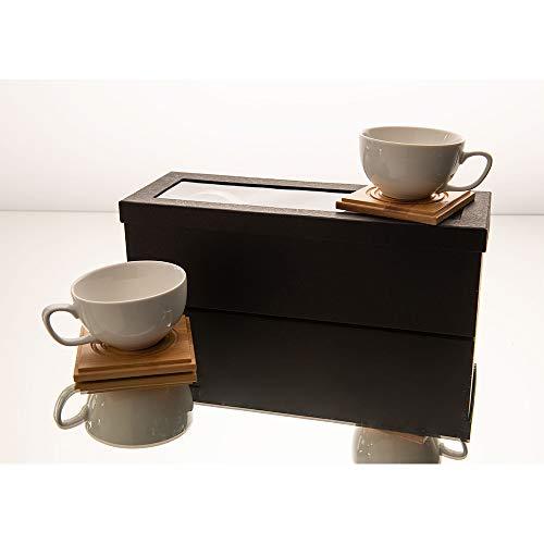 Amadeus - Coffret 4 tasses 200 ml porcelaine avec sous tasses bois