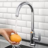 YITAHOME Bar Sink Faucet Single Hole, Splashproof Chrome Bar Faucet for Kitchen, Big Single Handle High Arc Gooseneck Wet Bar Faucet, Stainless Steel Prep Sink Faucet for RV Laundry Sink