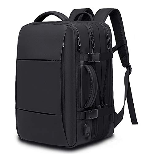HS-LAMP 25L Business Carry-on Travel Backpack, Lightweight Expandable Weekender Bag with USB Charging Port fit for Adult Men, women, teenagers 15.6 inch Laptop (Color : Black)