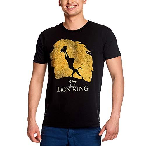 Disney Roi Lion Tee Shirt Homme Silhouette Simba Rafiki Coton Noir - L