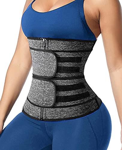 Sweat Waist Trainer for Women Men Neoprene 2 Straps Zipper Waist Trimmer Sauna Belt Workout Waist Trainer Back Support Belt