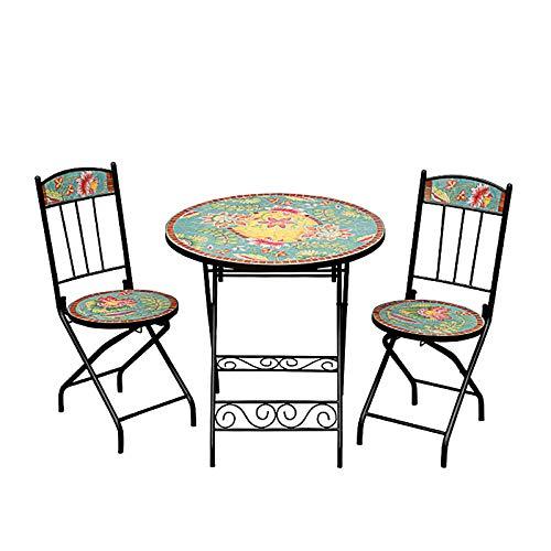 HZWZ Mosaikrunde Akzentabelle, 27,5'Beistelltisch Mit 2 Stühlen, Pflanzenständer Dekor Für Patio-Veranda, 3-Teiliges Bistro-Set, Falttattel-Möbel Für Hinterhof, Couchtisch,1 Table + 2 Chairs
