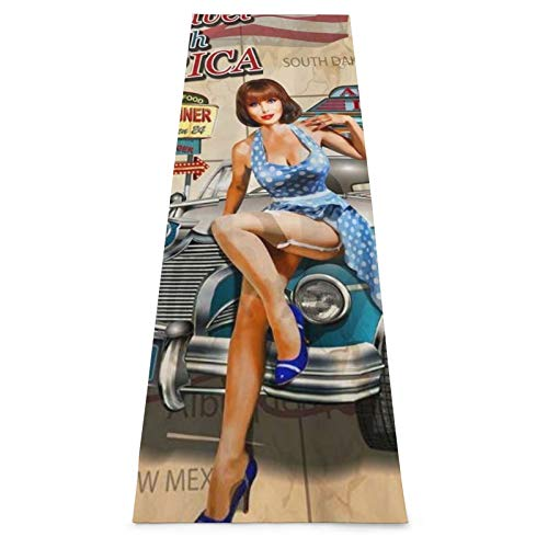 LOSUMIGE Esterilla Yoga Ruta 66 American Vintage Poster Style Hot Girl Car Theme Colchonetas de ejercicio Pilates para entrenamiento en casa Gimnasio Fitness Meditación Alfombra