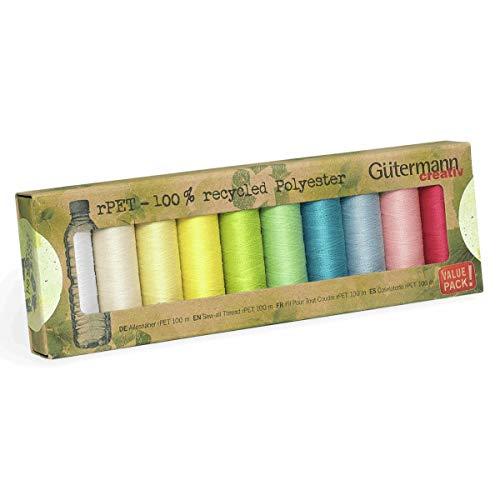 Gutermann Guterman n100% poliéster reciclado para coser todos los hilos, 100 – 10 carretes de colores pastel, multicolor, talla única