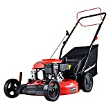 PowerSmart Lawn Mower, 21-inch & 170CC, Gas Powered Self-propelled Lawn Mower with 4-Stroke Engine, 3-in-1 Gas Mower in Color Red/Black, 5 Adjustable Heights (1.2''-3.0''), DB2194SR-A