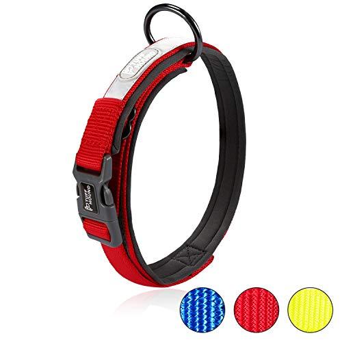 HAPPY HACHI Collar para Perros Ajustable Reflectante Suave Dog Collar Acolchado Cómoda Cuello Perro Pequeños Medianos Grandes Nylon (Rojo,S)
