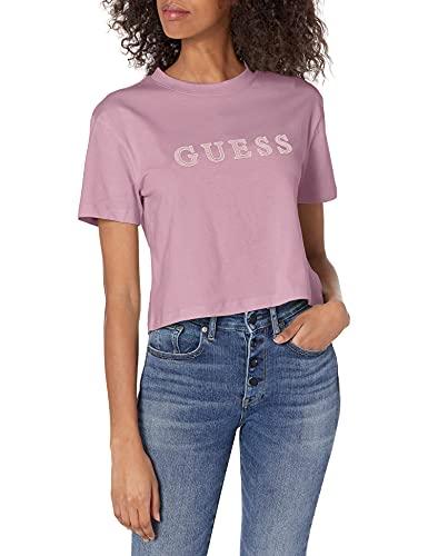 Guess Maglietta da Donna Attiva, a Maniche Corte con Logo Ricamato, con Logo Incrociato Crema Lilac L