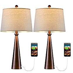 【USB Charging Port】This modern table lamp features a built-in 5V/2A usb charging port to charge your mobile phone, tablets, kindle readers, iPad, iPhone and so on. You don't need to find the USB Charging cable and socket each time,saving your time an...