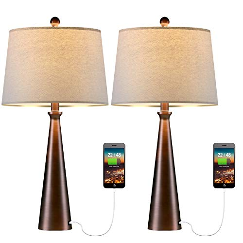 Oneach Modern Table Lamp Set of 2 with USB Charging Port Bedside Accent Lamps for Living Room Nightstand Lamp Bedroom with Fabric Lampshade Oil Rubbed Bronze