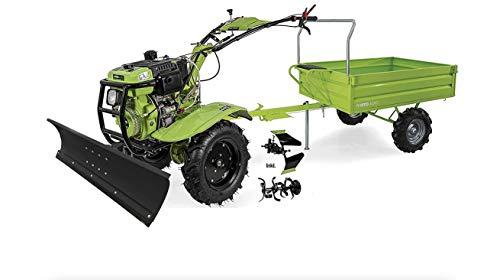 VITO Einachsschlepper mit Anhänger 12PS Diesel Set Motorhacke + Adapter mit Schneeschild + Pflug + Bodenfräse- E-Starter Direktantrieb - 135cm Arbeitsbreite