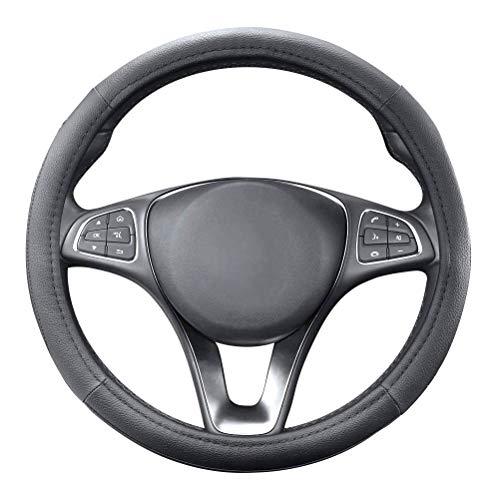 QLOUNI Auto Lenkradhülle, Lenkrad Abdeckung, 37-38 cm, Mikrofaser-Leder Lenkradbezug, Universal Auto Lenkradschutz, Schwarz Lenkradabdeckung