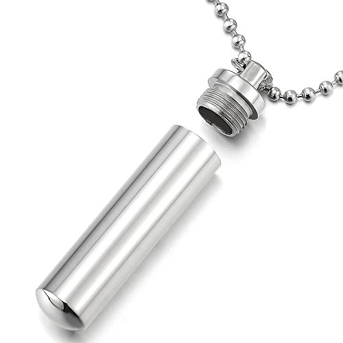 COOLSTEELANDBEYOND Mens Women Cylinder Ashes Memorial Pendant Pill Box Necklaces Steel, 23.6 inches Ball Chain