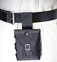 LARP-Pagan-SCA-Cosplay-Roleplay HANG FROM BELT HERO LEATHER BAG Black or Brown