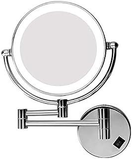 مرآة مكبرة للمكياج على الحائط مع إضاءة LED، بلمسة نهائية من الكروم المصقول ودوار مزدوج الوجهين 20.32 سم