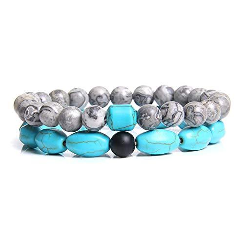 Stone Bracelet Bangles Wristlet,Handmade Couples Bracelet Men Black Onyx Bead Classic Natural Stone Blue Turquoises Beads bangle For Women Men Charm Bracelets Yoga Jewelry,3,17cm