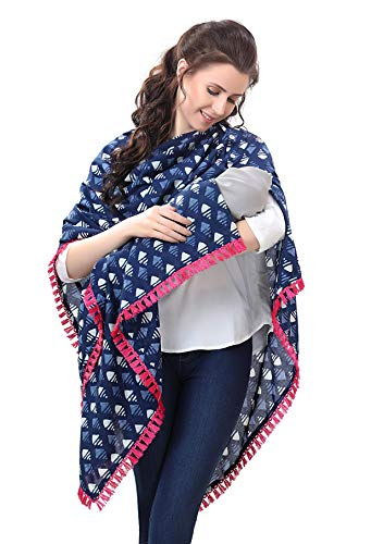 Easy Feed Nursing Cover for Breastfeeding Multi Use Poncho Style Scarf with Buttons, Cotton Feeding Elegant Apron Breathable, Perfect Gift for Pre & Post Pregnancy (Blue)