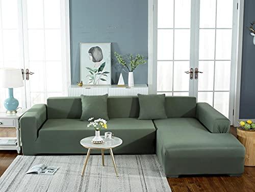 Funda Sofá Elástica 3 Plazas: 190-230 cm Funda para sofá Antideslizante Funda de Sofá Todo Incluido,Suave del Protector de Muebles,Lavable Sofá Cojín - Verde Puro