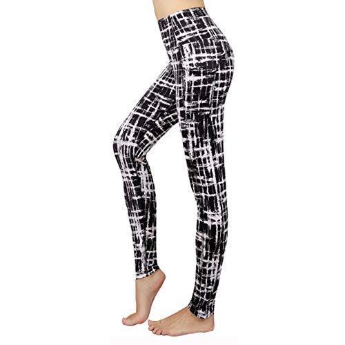 Dames print yogabroek met hoge taille, buikcontrole Workout hardlooplegging met zakken,n,L