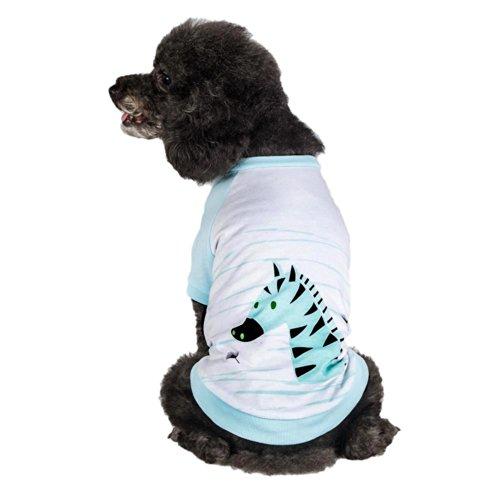 Blueberry Pet Henry The Zebra Cotton Dog Shirt in Aquamarine, Back Length...
