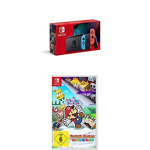 Nintendo Switch Konsole - Neon-Rot/Neon-Blau (2019 Edition) + Paper Mario: The Origami King [Nintendo Switch]