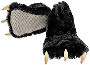 Lazy One Animal Paw Slippers for Adults and Kids (Black, XL)