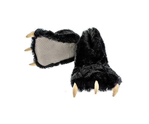 Lazy One Animal Paw Slippers for Adults and Kids, Cozy, Soft, Fun, Costume, Bear, Monster, Panther (Black, X-Large)
