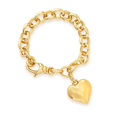 Ross-Simons Italian Andiamo Heart Charm Bracelet in 14k Gold Over Resin
